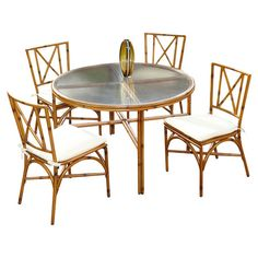 dining set with bamboo motif