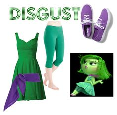 """""""disgust: inside out"""" by sabettegrieve on Polyvore - I would put flats with this instead"""