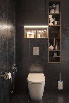Minimal Interior design flat bathroom wc // cgi visualization from STUDIO HORIZONT. Rendering done with Autodesk Max & Corona Renderer. Small Dark Bathroom, Dark Bathrooms, Bathroom Layout, Modern Bathroom Design, 3d Interior Design, Bathroom Interior Design, Design Studio, House Design, Toilet Design