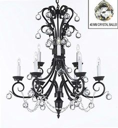 "Foyer / Entryway Wrought Iron Empress Crystal (Tm) Chandelier 30"" Inches Tall With Crystal Balls! H 30"" X W 26"" - A84-B6/724/6+3"