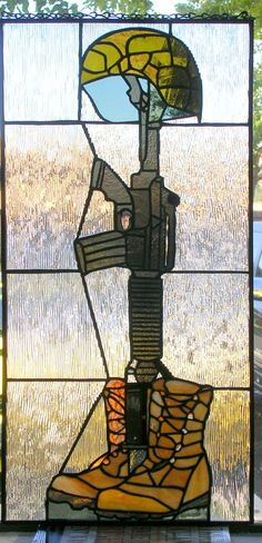 Fallen Soldier Military Stained Glass Window | eBay