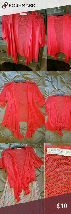 Sweater Wrap Cardigan Jacket short sleeve Coral Size - L - Short sleeve, light- weight sweater...Coral like color.....(maxi skirt sold separately) Faded Glory Sweaters