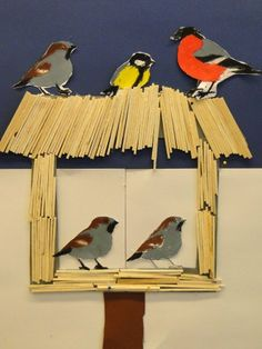 3d Art Projects, Winter Art Projects, Winter Project, Feeding Birds In Winter, Kids Art Galleries, First Grade Art, Winter Kids, Animal Crafts, Art Classroom