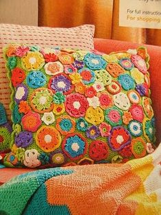 lots of flowers cushion. Love how bright this cushion is. And like all the different flowers. I have the pattern for this and can e-mail it to you if you are interested in it. (It was from the Australian Better homes and gardens magazine)