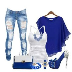 3b4a49033487 White jeans Royal blue blouse and