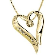 """Amazon.com: 14k Yellow Gold Plated Sterling Silver \""""A Mother Holds Her Child\'s Hand For A Short While And Their Hearts Forever\"""" Heart Pendant, 18\"""": Jewelry"""