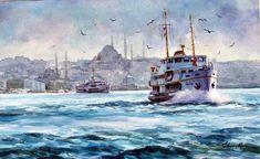Watercolor Flowers, Watercolor Paintings, Watercolors, Istanbul City, Boat Painting, Coastal Art, Seascape Paintings, Watercolor Techniques, Landscape Photos