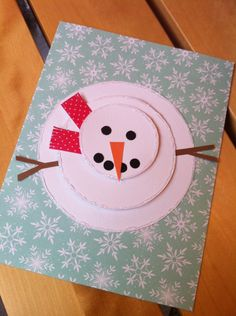 "Snowman card with aerial view. Hand made cards by ""Krysp"" Paper Creations."