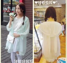 Lolita summer new Small fresh light green white sweet Long-sleeved chiffon shirt girl Mori Girl Style Sun protection clothing