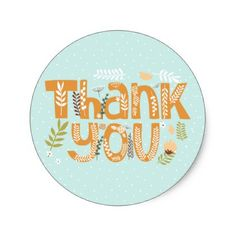 Whimsical Floral Typography Thank You Sticker II - thanksgiving stickers holiday family happy thanksgiving
