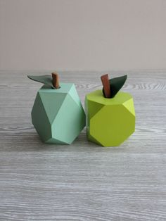'Lo-res' Apple & Pear Ornaments