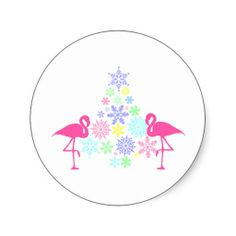 sold some pink flamingo tropical Christmas tree Round Stickers, happy holidays from www.zazzle.com/tropiques