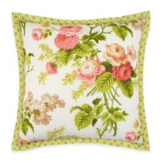 Breathe new life into your bedroom with the blossoming Waverly Emma's Garden Square Throw Pillow. Inspired by the hillside flowerscapes of a Jane Austen classic, the lovely pillow boasts charming bouquets of flowers in blush and soft pinks. Floral Throws, Floral Throw Pillows, Decorative Throw Pillows, Accent Pillows, Cotton Throws, Cotton Pillow, Waverly Bedding, Pillow Room, Pillow Talk