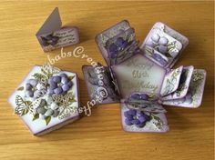 Box Cards Tutorial, Card Tutorials, Script Alphabet, Exploding Box Card, Birthday Sentiments, Anna Griffin Cards, Ivy Leaf, Shaped Cards, Easel Cards