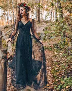24 Black Wedding Dresses With Edgy Elegance ❤ black wedding dresses simple with illusion long sleeves stylishbrideaccs #weddingforward #wedding #bride #weddingoutfit #bridaloutfit #weddinggown