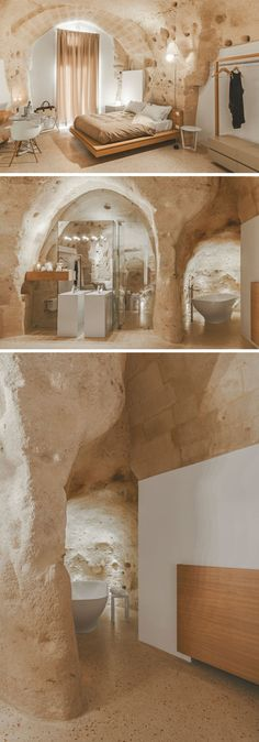 A Modern Interior Was Built Inside This Historic Building In Italy - La Dimora di Metello, a hotel in Matera, Italy, combines historic cave-dwellings with contemporary design. Contemporary Wallpaper, Rustic Contemporary, Contemporary Interior Design, Contemporary Bedroom, Contemporary Architecture, Interior Architecture, Kitchen Contemporary, Contemporary Apartment, Contemporary Chandelier