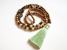 Long beaded tassel necklace with wood and czech glass beads by Aella Jewelry Beaded Tassel Necklace, Beaded Bracelets, Ethnic Jewelry, Unique Jewelry, Czech Glass Beads, Stone Necklace, Jewelry Gifts, Boho Chic, Tassels
