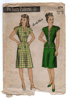 """1940's DuBarry Two-Piece Asian inspired Dress - Bust 30"""" - No. 6172"""