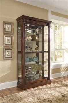 Madison Traditional Brown Wood Gl Two Way Slding Door Curio Decor Cabinet