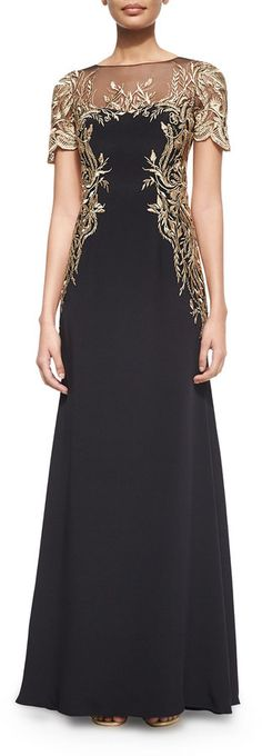 Marchesa Notte Short-Sleeve Embroidered Gown