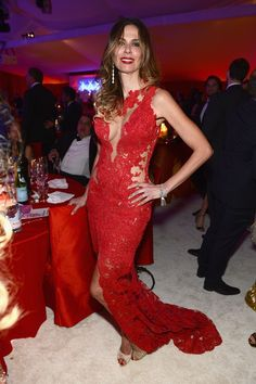 2014 Luciana Gimenez Celebrity Dresses High Neck Sheer Lace Appliques Red Sleeveless Side Slit Floor Length Party Gowns