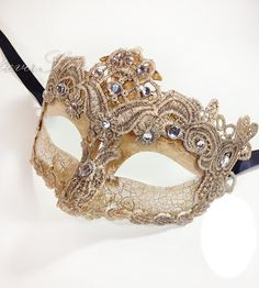 Toga Party Special - Venetian Goddess Masquerade Mask Made of Resin, Paper Mache Technique with High Fashion Macrame Lace  Diamonds [Ivory]...