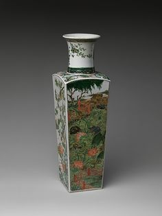 Seasonal references abound in Chinese art, and the four different types of flowers painted here allude to the passing of time and the changes in nature. For example, the plum blossoms on one side, which often bloom when snow is on the ground, are a harbinger of spring, while chrysanthemums on another symbolize autumn early 18th century Culture:China