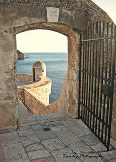 5x7 Photograph  Dubrovnik Croatia Portal Blue Seaside by seardig, $14.00