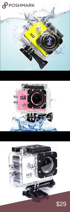 SPORT HD WATERPROOF CAMERA Captures full 1080p HD video & snaps 12MP still images — Comes in a waterproof & shock-resistant case — Includes all necessary mounting accessories — Delivers 70 mins of recording time per charge — Allows quick uploading via USB Accessories
