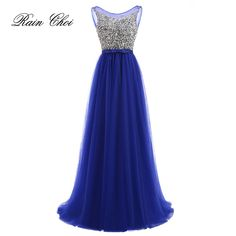 b9c393c5aa3a7 Vestidos de Fiesta 2018 Long Evening Dresses Royal Blue Tulle A line Formal  Long Dress O Neck Plus Size-in Evening Dresses from Weddings & Events on ...