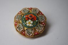 VINTAGE ITALIAN MICRO MOSAIC GLASS  ROUND FLORAL  PIN BROOCH/ GOLD TONE #Unbranded