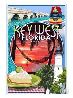 Key West, Florida - Montage Art Print by Lantern Press at Art.com