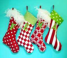 Reserved Listing Christmas Stockings for Jenny, 5 Personalized, Family Stockings, Whimsical, Colorful, Fun. $137.50, via Etsy.