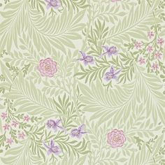 The Original Morris & Co - Arts and crafts, fabrics and wallpaper designs by William Morris & Company | Products | British/UK Fabrics and Wallpapers | Larkspur (DARW212555) | Morris Archive Wallpapers II
