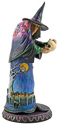 Jim Shore Heartwood Creek Witch Holding Skull Figurine