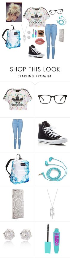 """Thursday (Part 1)"" by raindaze ❤ liked on Polyvore featuring adidas Originals, New Look, Converse, JanSport, FOSSIL, Nanette Lepore, Lucky Brand, River Island and Lime Crime"