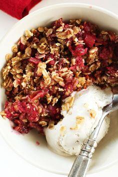 PERFECT tart-sweet Raspberry Rhubarb Crisp. http://minimalistbaker.com/vegan-gluten-free-raspberry-rhubarb-crisp/