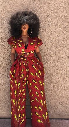 RED BULB African print infinity jumpsuit African print infinity jumpsuit Can be worn more than 10 different ways 2 side pockets Elastic Back INSEAM: 32 African Fashion Ankara, African Inspired Fashion, Latest African Fashion Dresses, African Dresses For Women, African Print Dresses, African Print Fashion, African Attire, African Wear, African Women