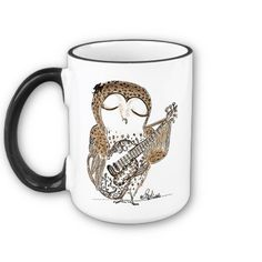 Guitar Playing Owl - Mug by Cobalt_Presents