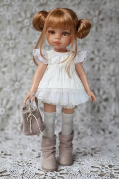Paola Reina clothes Outfit for doll Dress with lace White dress Paola Reina Dress for doll Knitted Romper, Knitted Dolls, Crochet Dolls, Vinyl Dolls, Doll Shoes, Bjd Dolls, Cute Dolls, Ball Jointed Dolls, Fabric Dolls