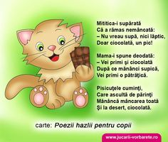 Ce facem cand copilul vrea mereu dulciuri? Poezie terapeutica: Pisica Mititica şi ciocolata Craft Activities For Kids, Projects For Kids, Preschool Activities, Crafts For Kids, Emotions Activities, School Coloring Pages, Kids Poems, Art Drawings For Kids, Kids Reading