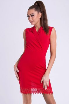 Simple fitted dress decorated with embroidery at the bottom by a collar. Produced in Europe - high quality materials. European production - high quality Color: Red Fabric: polyester Lycra Weight: kg Fashion Models, Fashion Outfits, Long Sleeve Mini Dress, International Fashion, Red Lace, Short Dresses, Women's Dresses, Evening Dresses, High Neck Dress