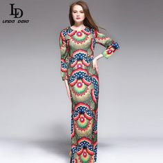 Women Vintage Maxi Dress Long Sleeve Party Wear Sexy Geometric Printing Long Dress $82.16   => Save up to 60% and Free Shipping => Order Now! #fashion #woman #shop #diy  http://www.clothesdeals.net/product/ld-linda-della-2016-women-vintage-maxi-dress-long-sleeve-party-wear-sexy-geometric-printing-long-dress