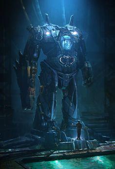 Mobile Suit Batman by Emmanuel Shiu Blade Runner, Steampunk, Fighting Robots, Mekka, Concept Art World, Cyberpunk Art, Suit Of Armor, Mobile Suit, Art Portfolio