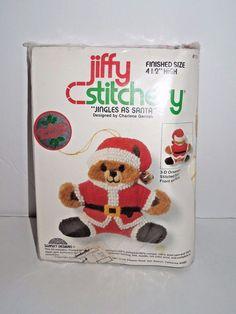 "Christmas Keepsake Needlepoint Teddy Bear Santa Ornament 4.5"" high #114 #SunsetDesigns"
