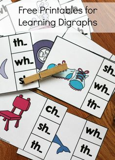 FREE digraph clip cards. Fun literacy center, guided reading activity or word work station.