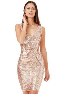 737ceac74b V Neck Sequin Midi Dress with Bow Detail - Champagne - Front -