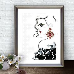 Digital Art Print Glam Wall Art Fashion от ArtBoutiqueButterfly