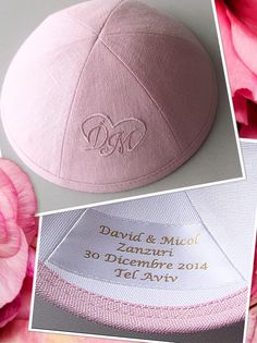 Pink Linen Kippa Was Given As A Gift In Wedding Info Www Simchaskippot