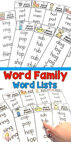Word Family Lists for Guided Reading Word Family Lists for Guided Reading,Fountes & Pinell These word family lists make a perfect addition to your guided reading lessons. They were created for new readers. Reading Words, Reading Fluency, Reading Intervention Activities, Teaching Reading Strategies, Guided Reading Activities, Reading Resources, Guided Reading Lessons, Reading Skills, Reading Groups